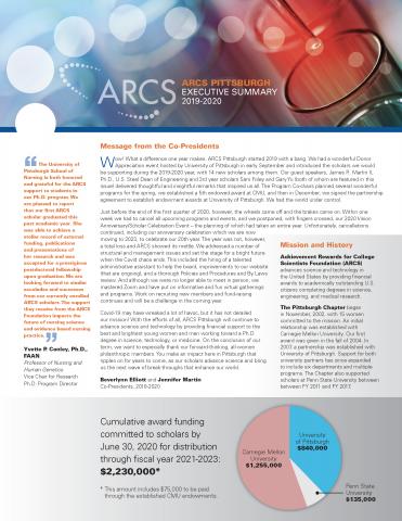 ARCS Pittsburgh 2019-2020 Executive Summary